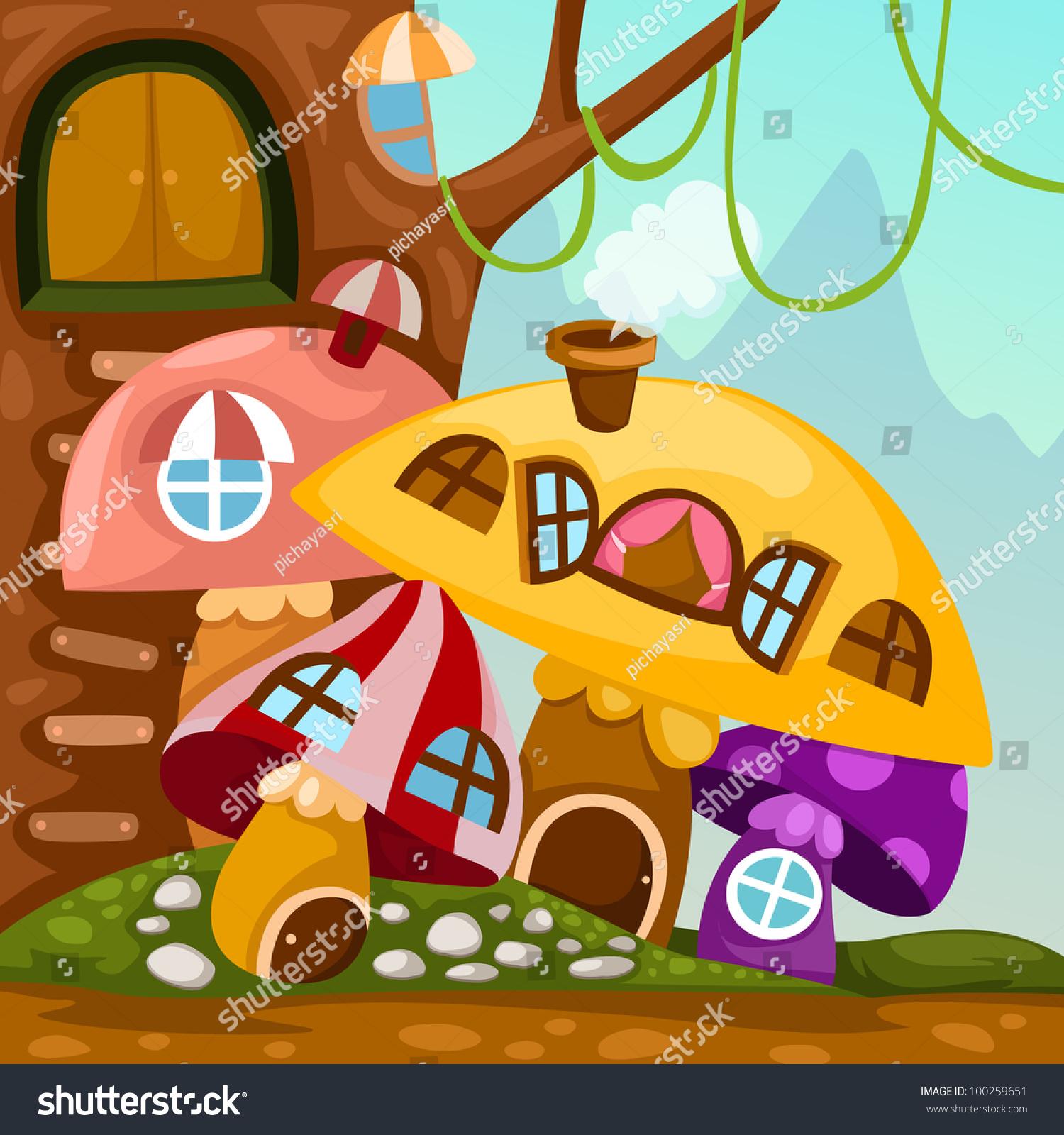 说明景观蘑菇房子-背景/素材,自然-海洛创意(hellorf)