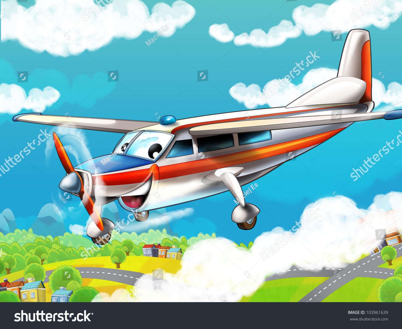 卡通飞机-背景/素材