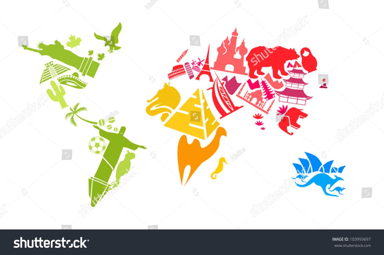 世界地图地标-建筑物/地标,符号/标志-海洛创意()-合.
