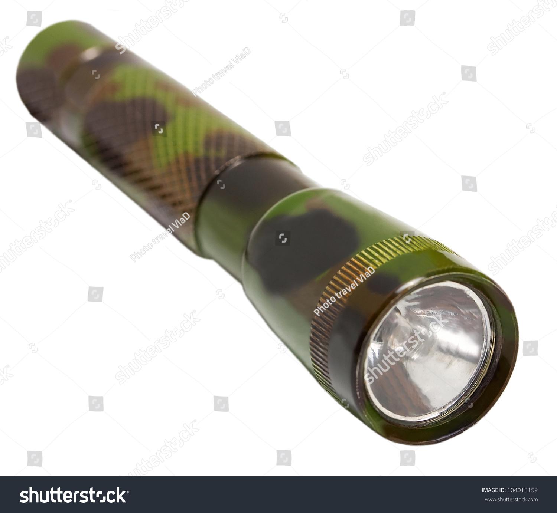 伪装军事手电筒在白色背景上-物体图片