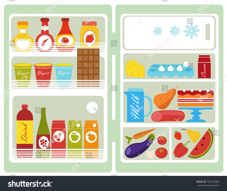 打开冰箱的食物