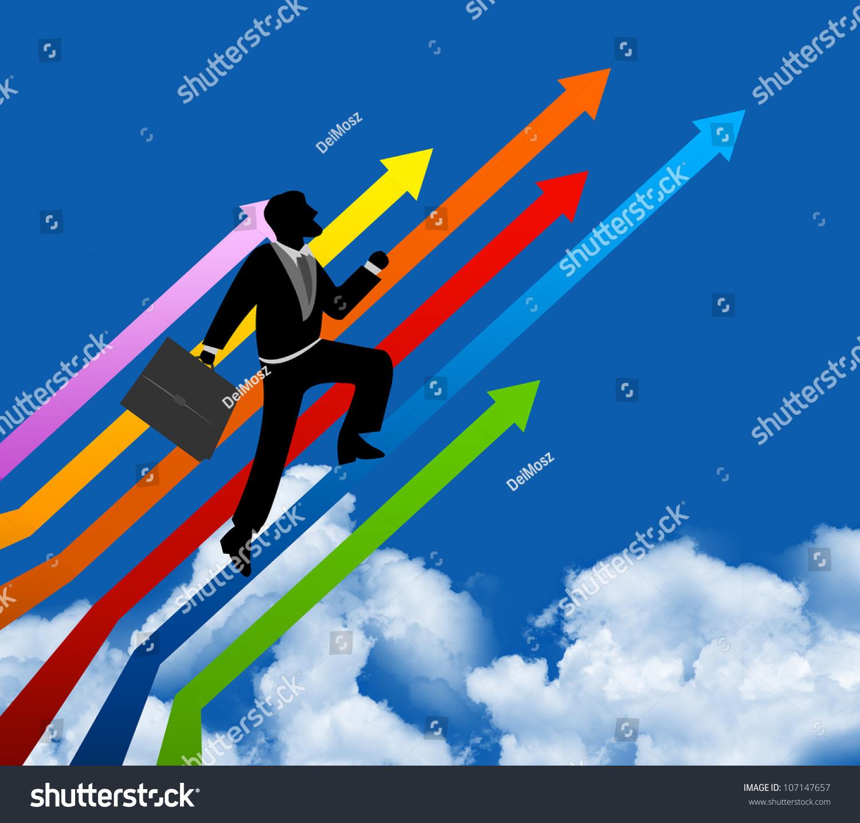 商人加大成功的一个色彩斑斓的箭头上蓝天的背景