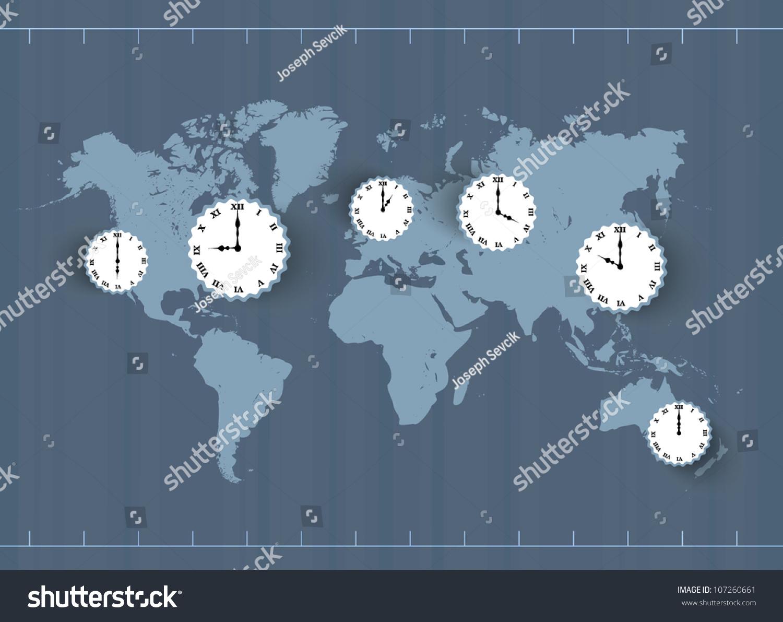 向量和时区的世界地图-背景/素材,抽象-海洛创意()-合