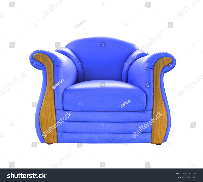 白色的旧蓝色皮沙发-物体
