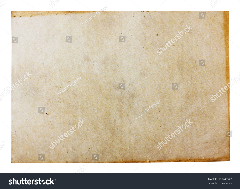 在白色背景上与剪辑路径分离的旧纸-背景/素材,复古