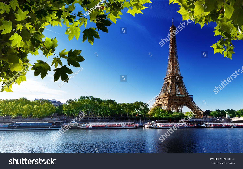 塞纳河在巴黎埃菲尔铁塔的日出时间-建筑物/地标
