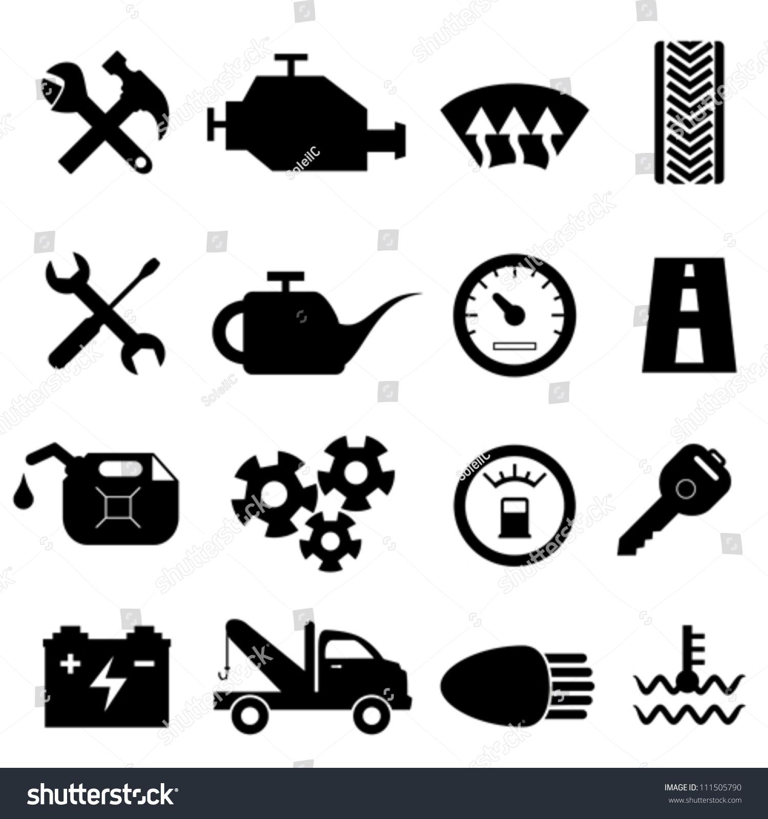 汽车保养和维修的图标集-物体