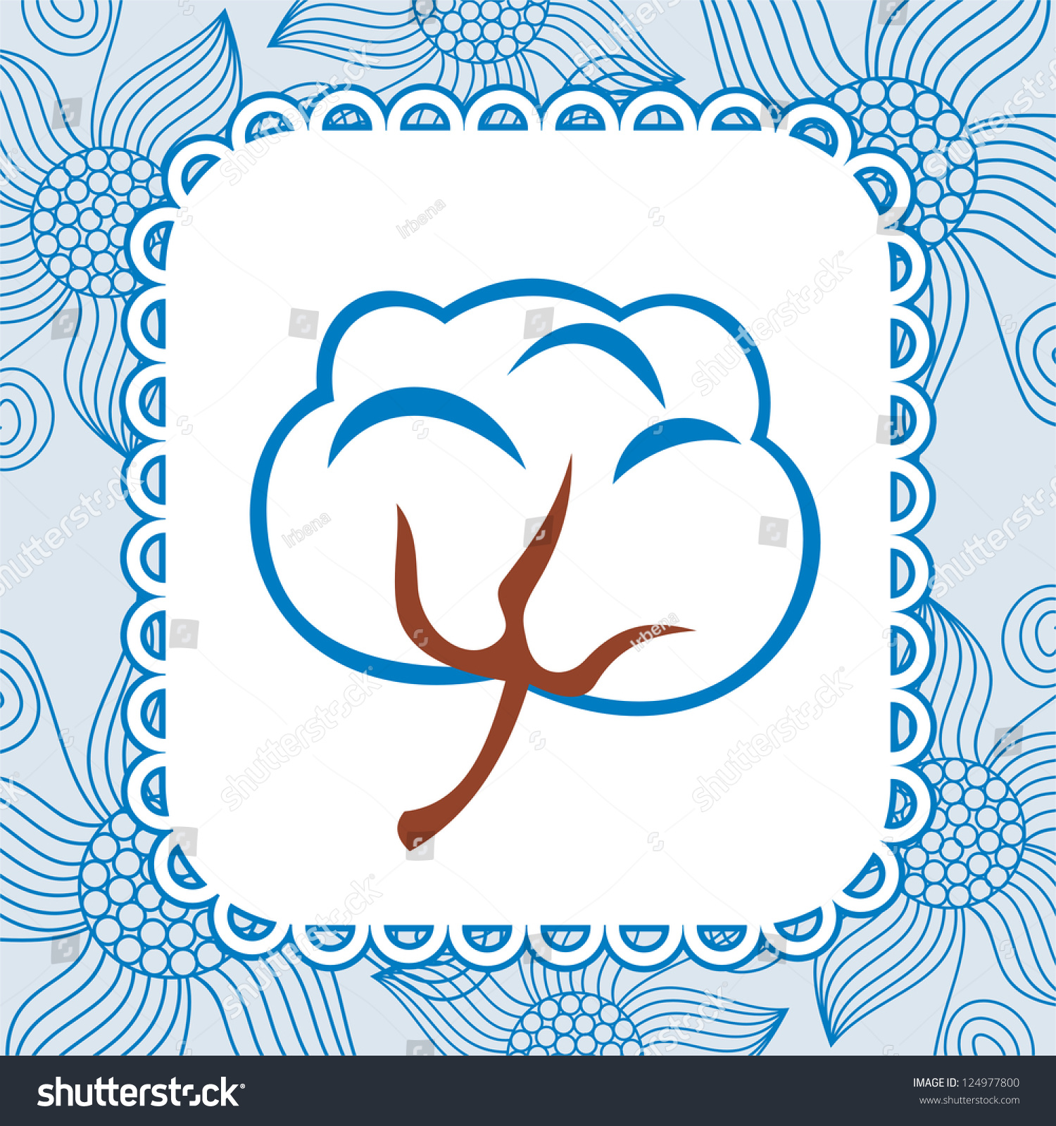 棉花花图案背景矢量图-背景/素材,自然-海洛创意()-合