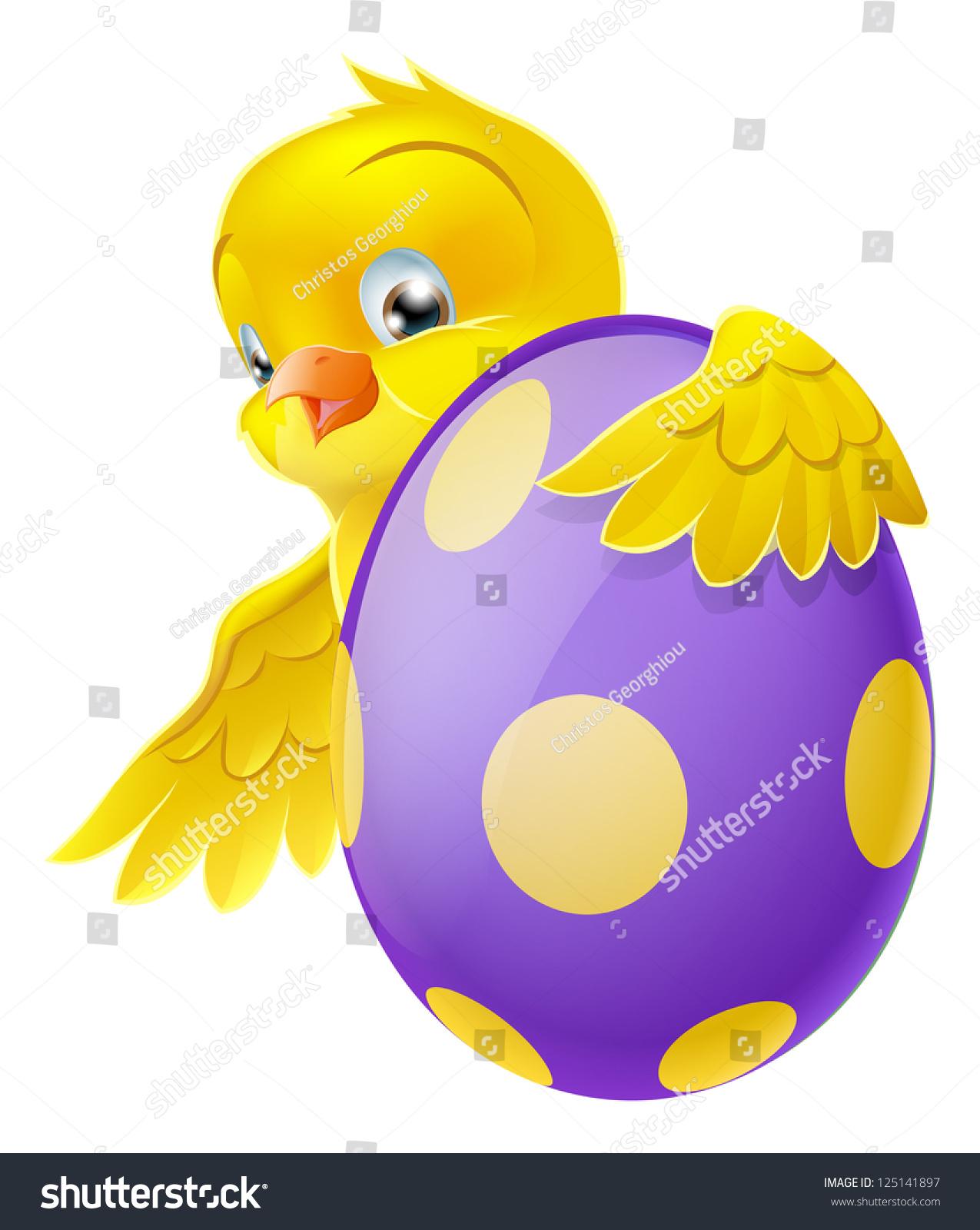 可爱的复活节小鸡卡通人物抓住和窥视涂巧克力复活节