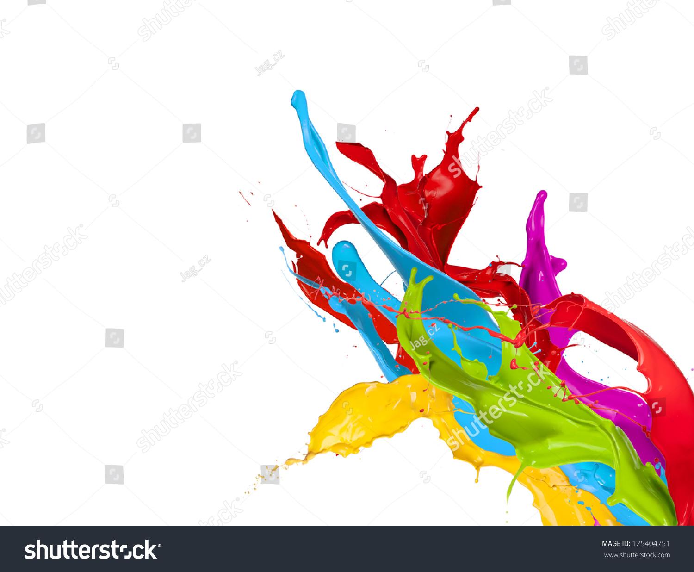 彩色油漆溅孤立在白色背景-艺术,抽象-海洛创意()-合.