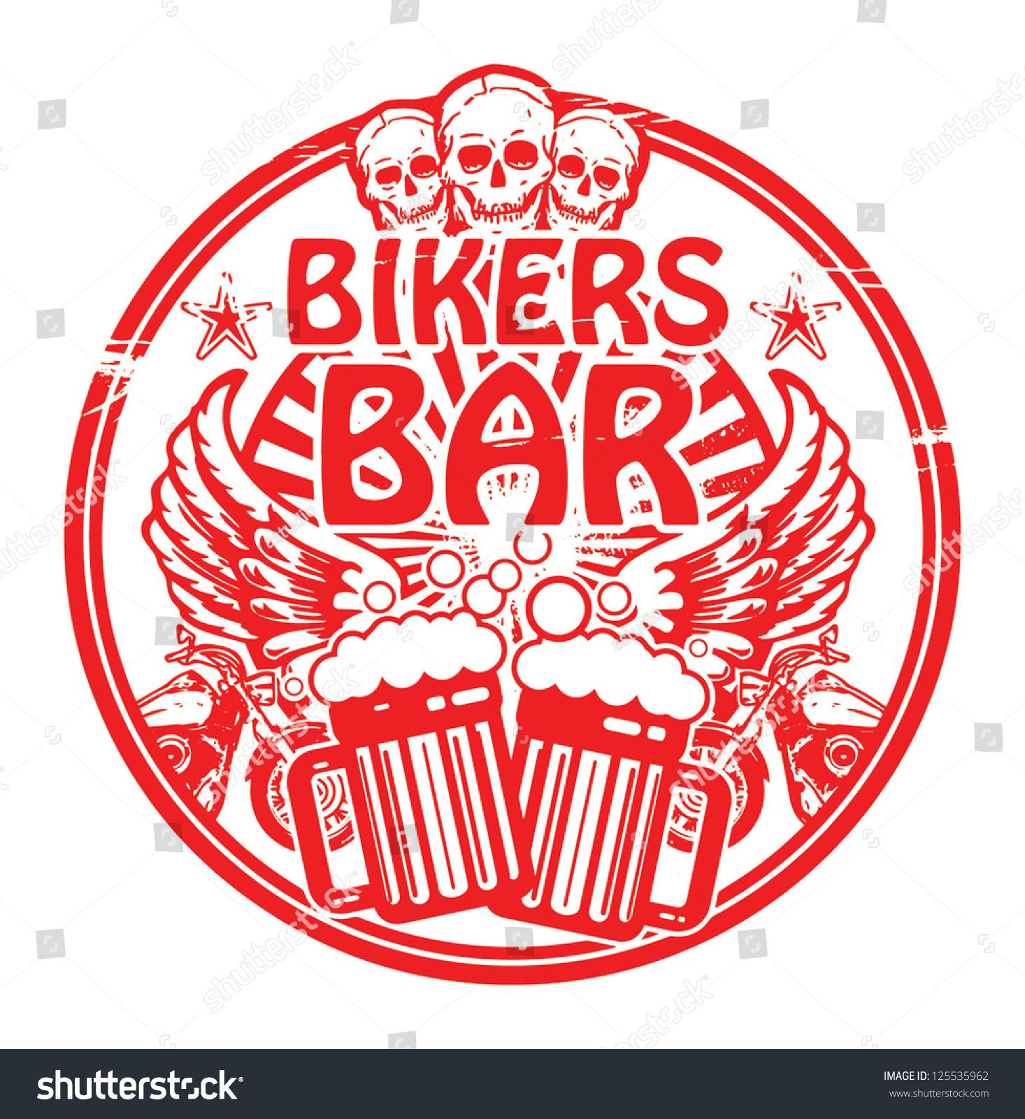骷髅的话自行车酒吧内垃圾的橡皮图章,矢量图-符号