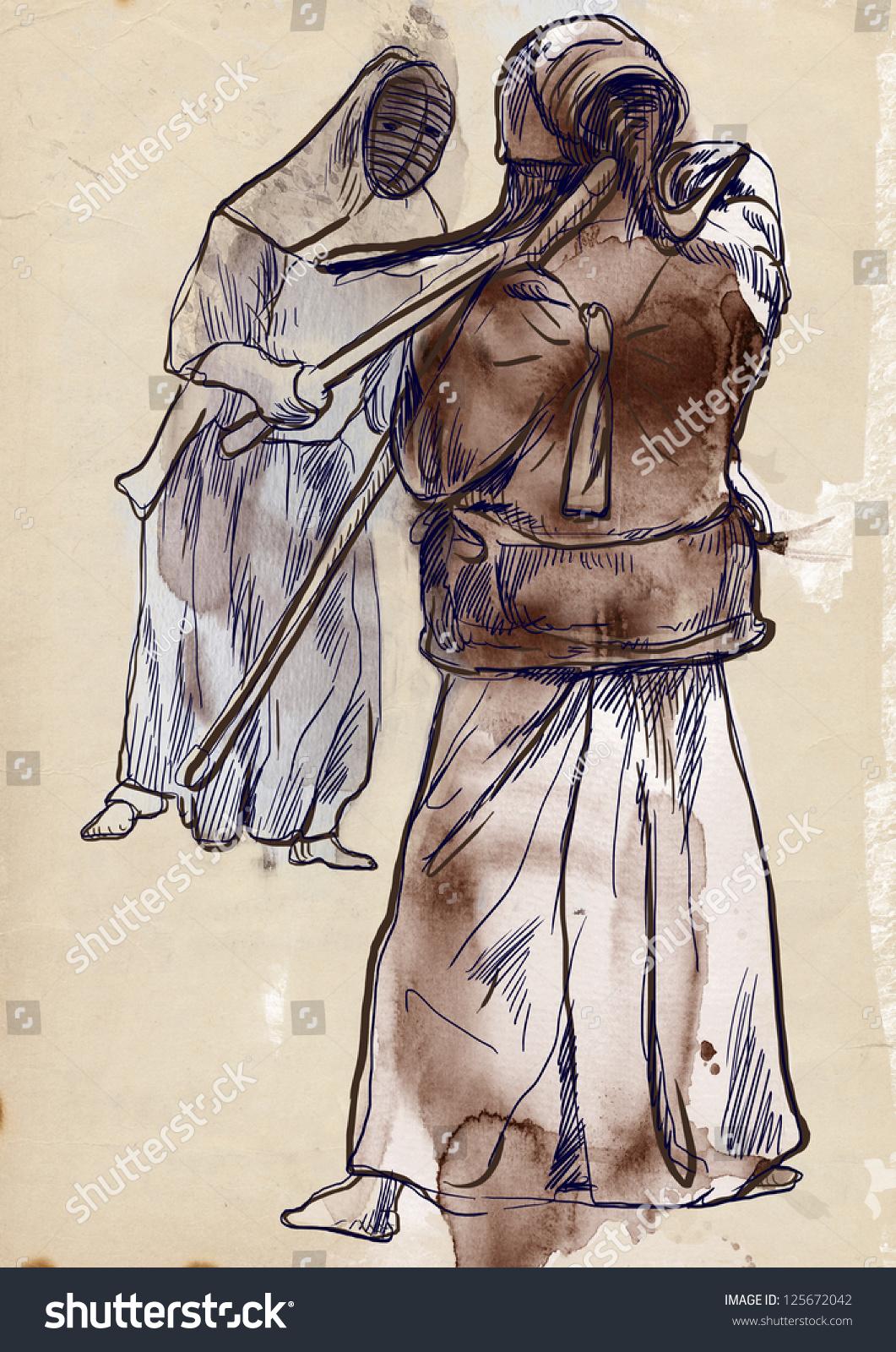 两个武道的手绘插图战士战斗在比赛