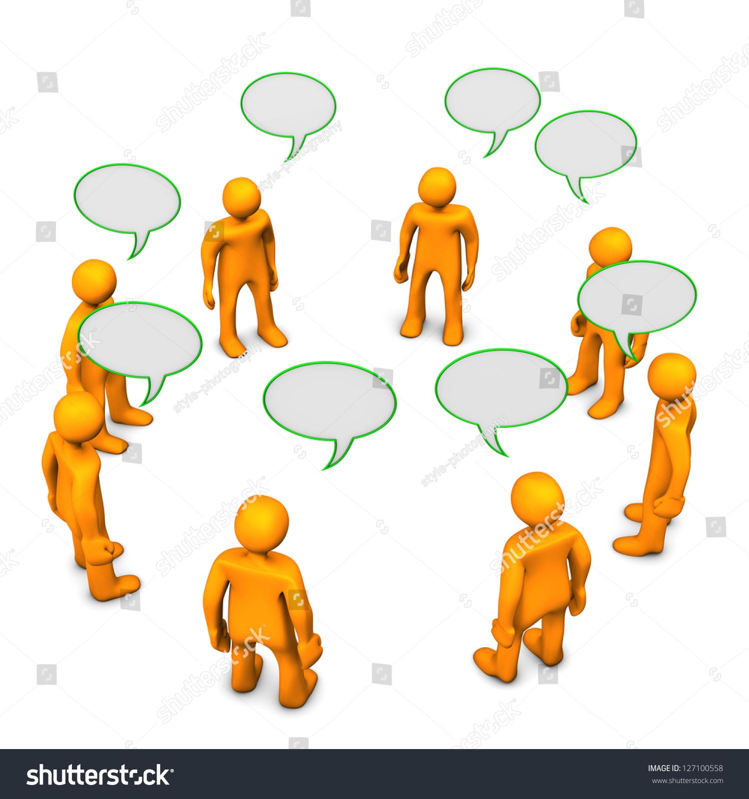 橙色的卡通人物在讨论.白色背景.-商业/金融-海洛创意