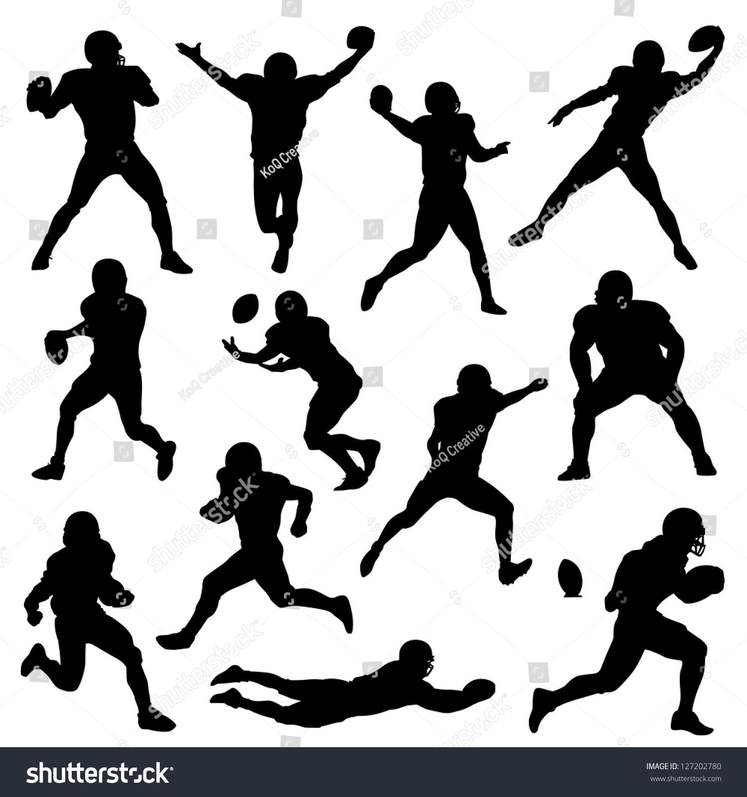 矢量剪影的足球运动员