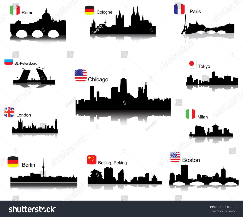 世界城市的详细矢量剪影-建筑物/地标,抽象-海洛创意
