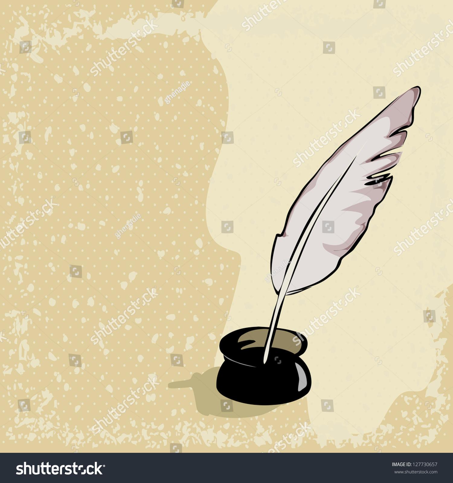 羽毛笔的背景-背景/素材,教育-海洛创意(hellorf)--.