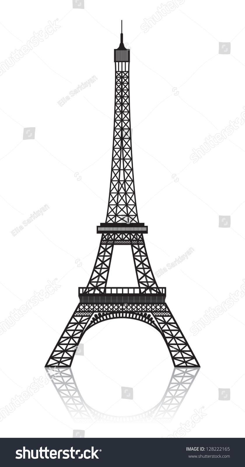 埃菲尔铁塔与白色的反射