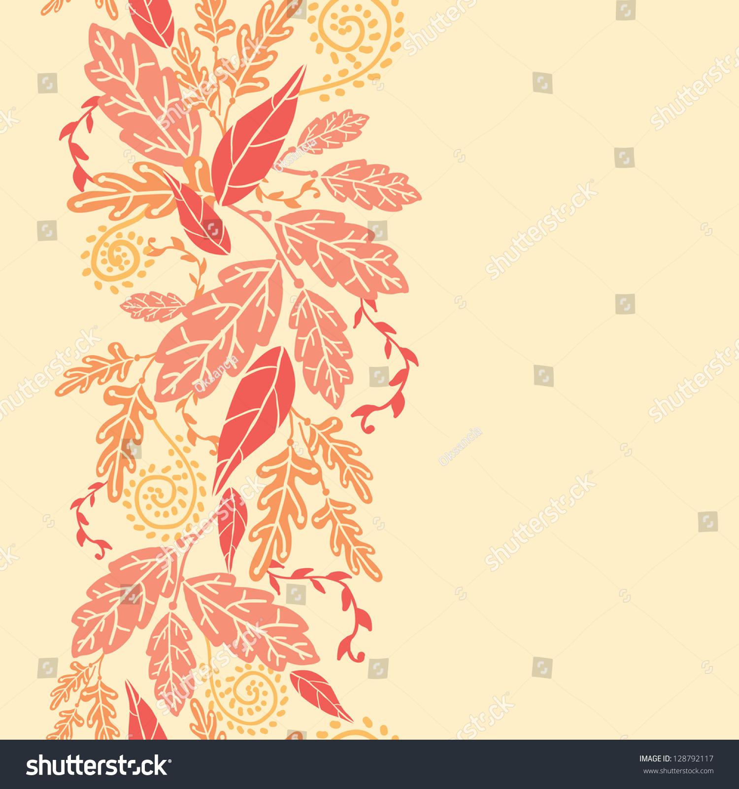 秋叶垂直无缝模式背景边界栅格-背景/素材,自然-海洛图片