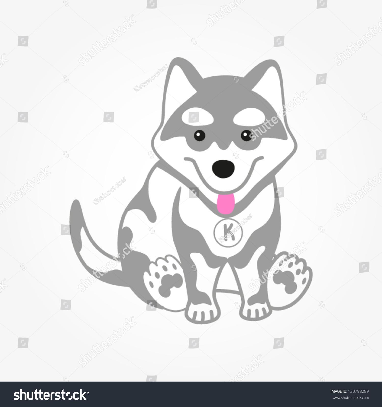 可爱的哈士奇小狗插画矢量图.白色的狗.-动物/野生