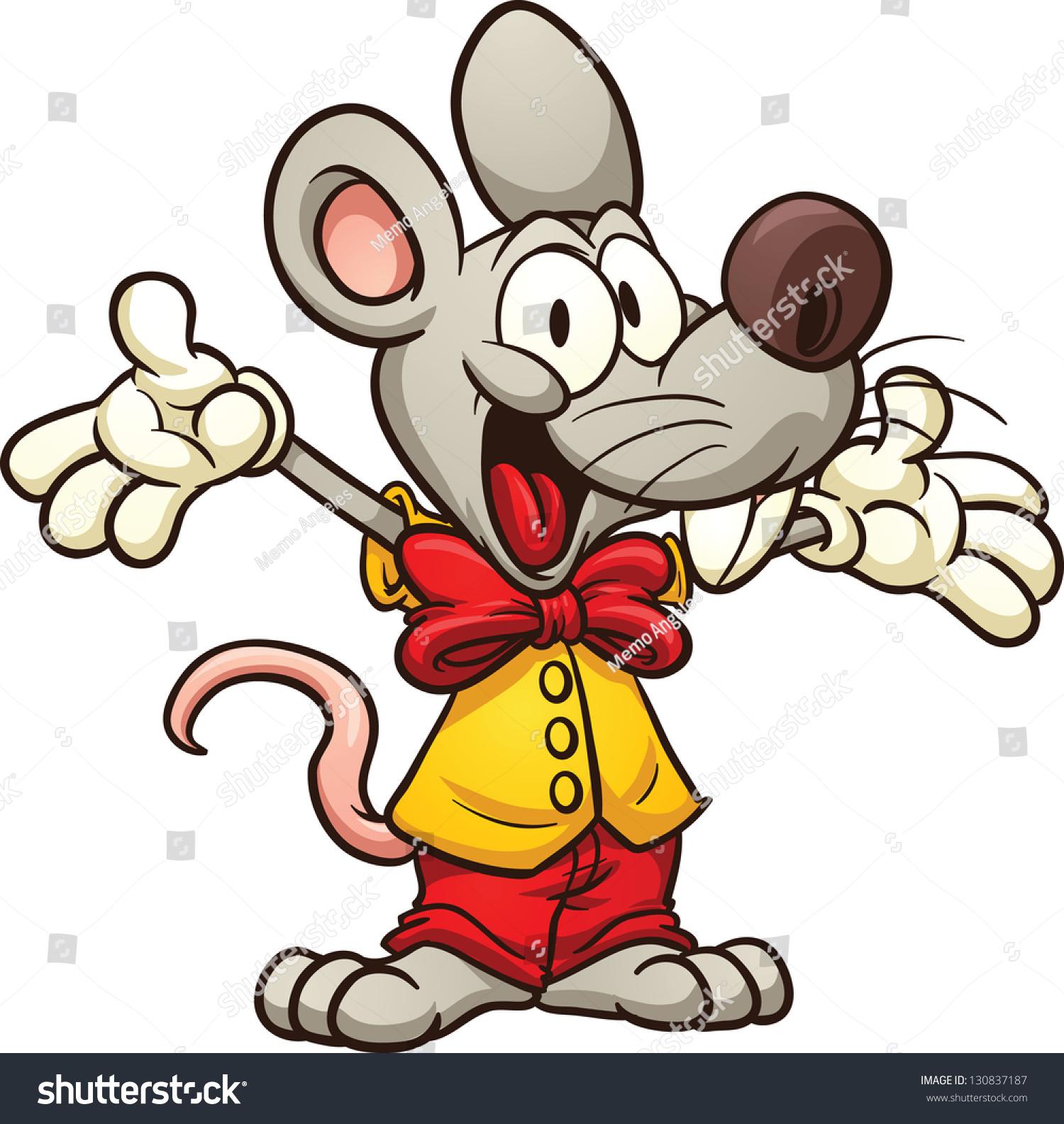 可爱的卡通老鼠戴着领结.使用简单的梯度向量剪贴画.
