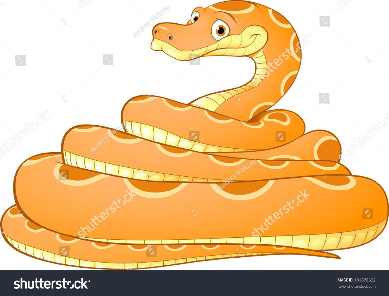 一条黄色的蛇的卡通插图-动物/野生生物,艺术-海洛()