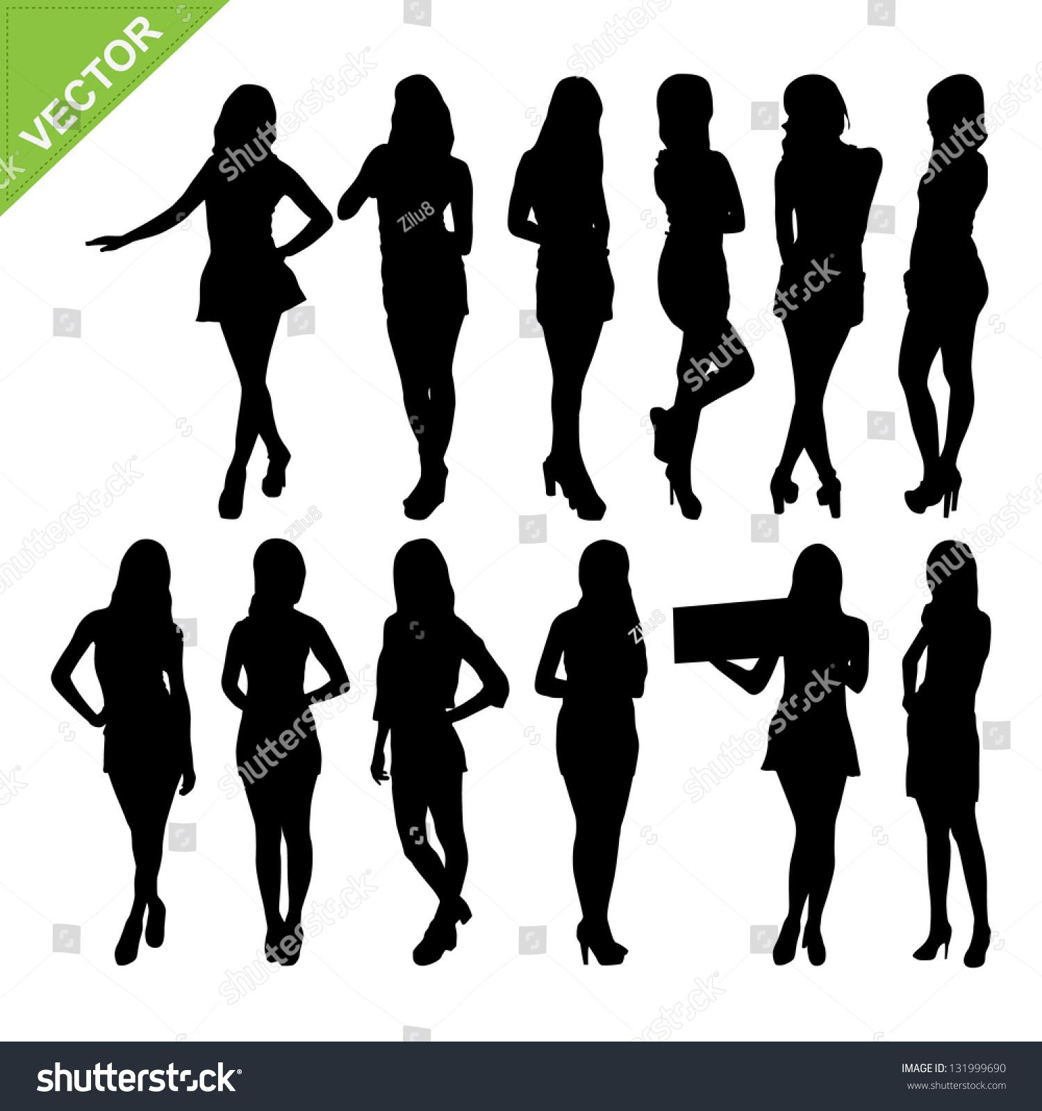 性感的女性剪影矢量组1-人物,美容/时装服饰-海洛创意