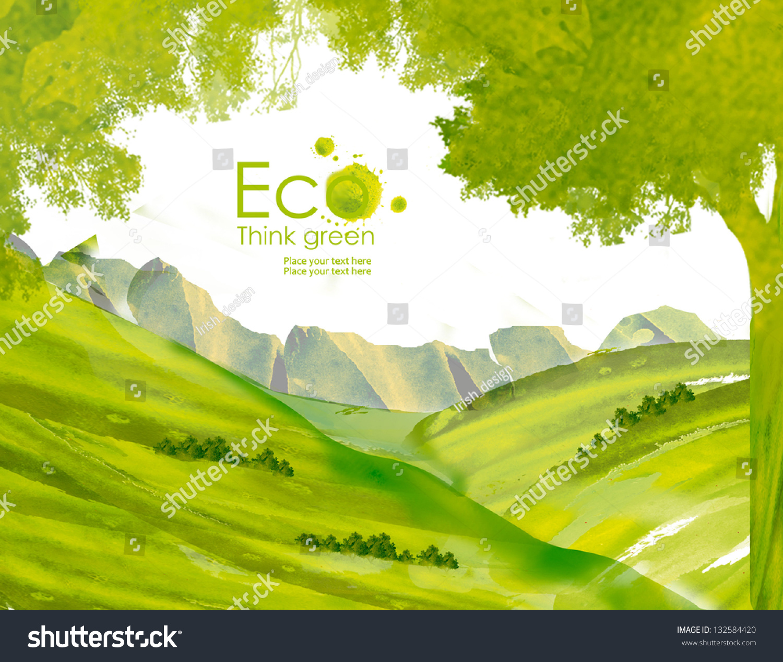 山水画与山水画的水彩画.认为绿色.生态概念.-自然