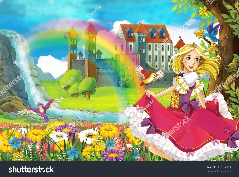 公主-美丽的漫画女孩-插图-背景/素材,艺术-海洛创意