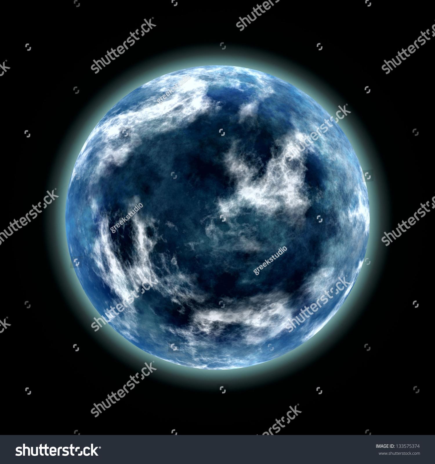 抽象的蓝色星球的形象-背景/素材-海洛创意(hellorf)