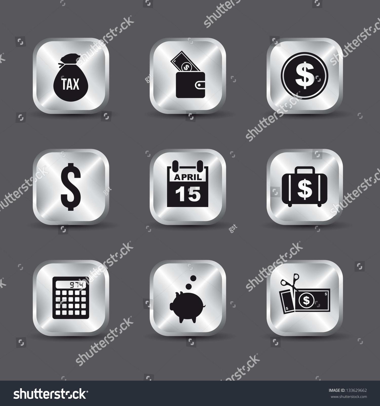 税收在灰色背景图标.矢量图-商业/金融,其它-海洛创意