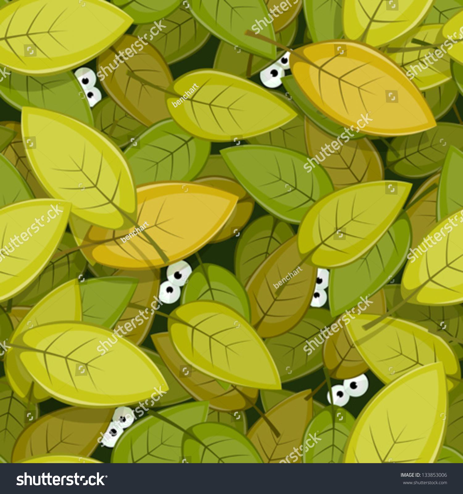 动物的眼睛在绿叶无缝背景/插图无缝绿叶背景与有趣的