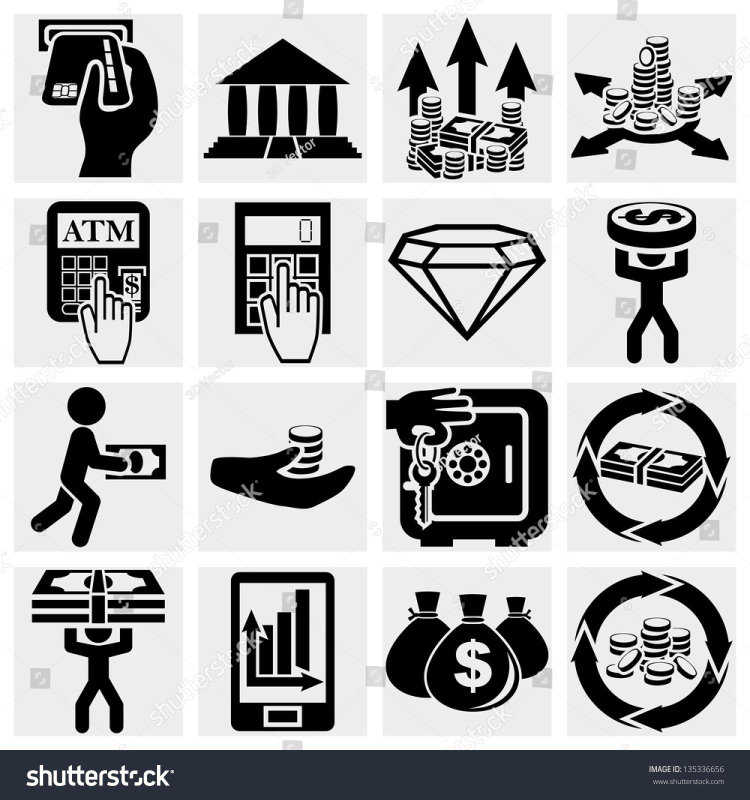 银行和金钱矢量图标集