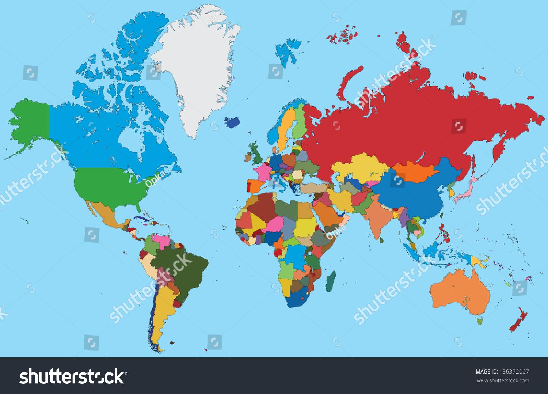 五彩缤纷的世界地图-背景/素材,其它-海洛创意()-中国