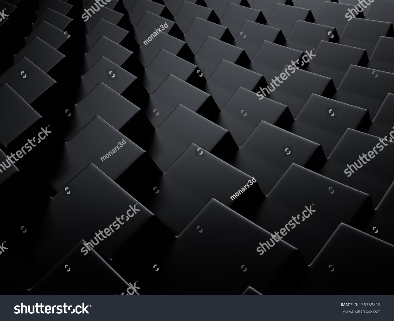 优雅的几何背景黑色金属立方体-背景/素材,抽象-海洛