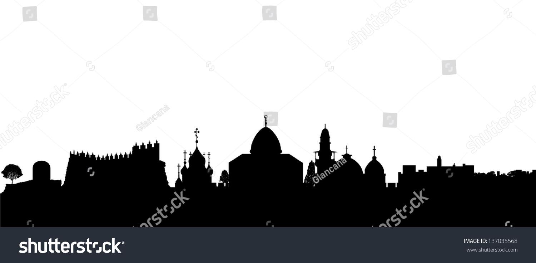 黑色的剪影轮廓矢量耶路撒冷-建筑物/地标,背景/素材