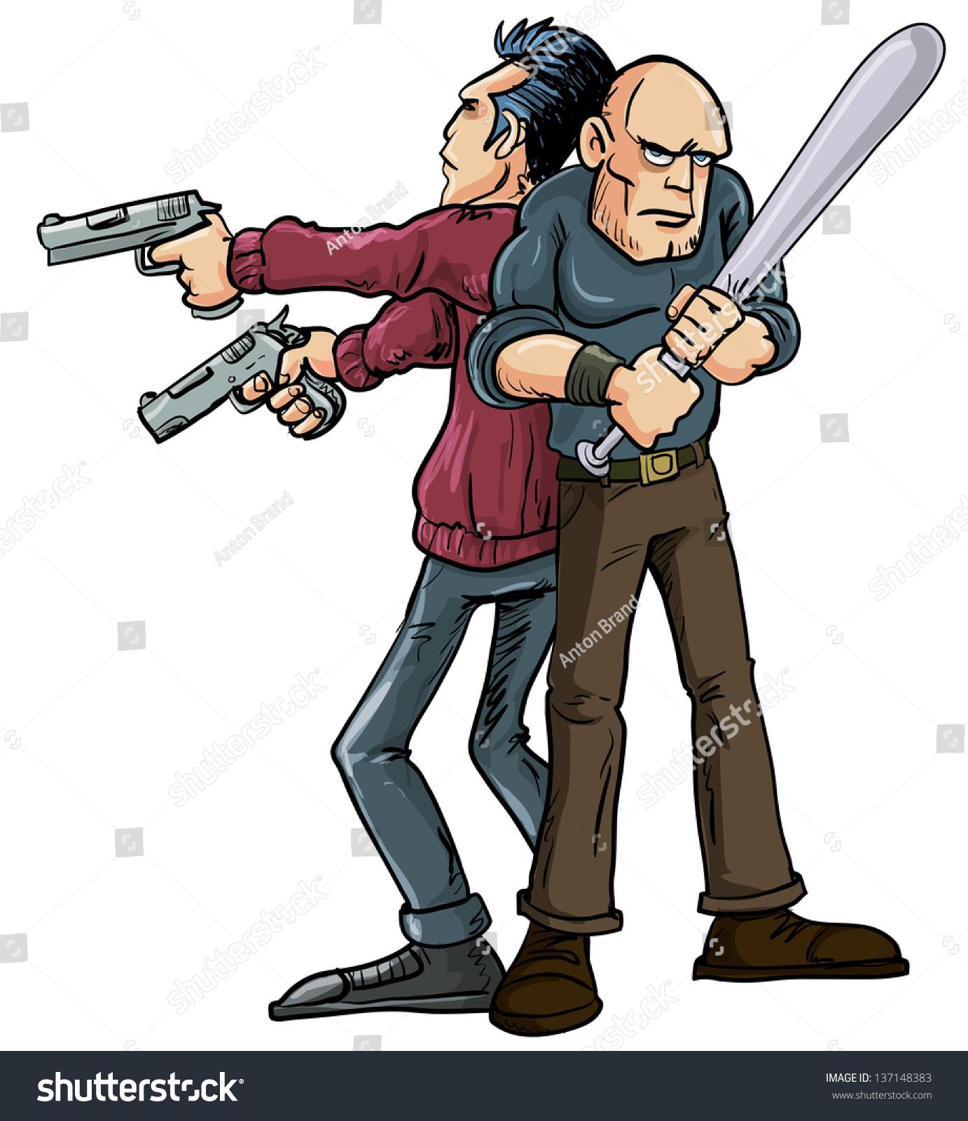 卡通插图背靠背站着的两个人操作好友系统行使他们的