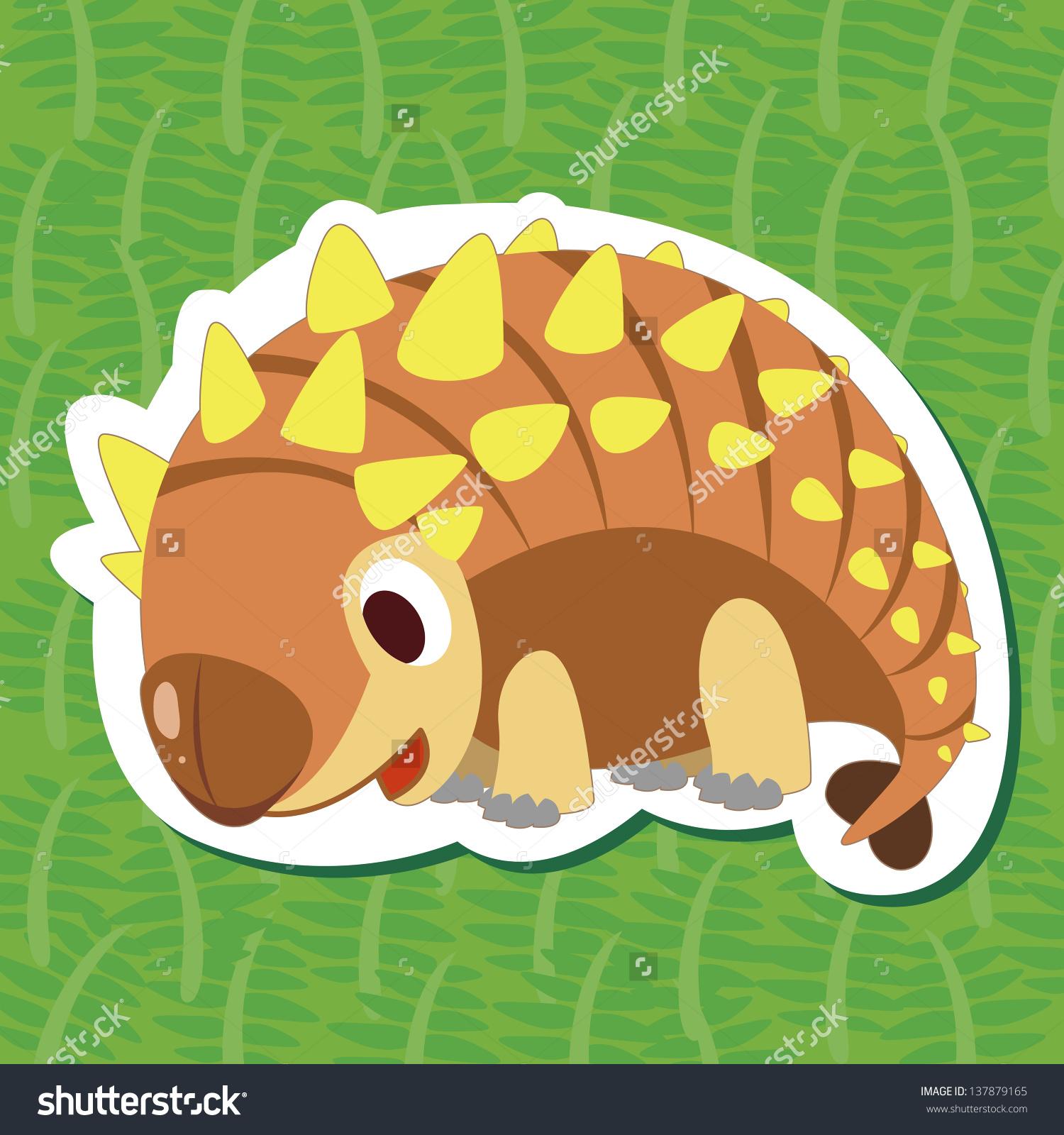 一个可爱的恐龙,甲龙贴纸-动物/野生生物,符号/标志