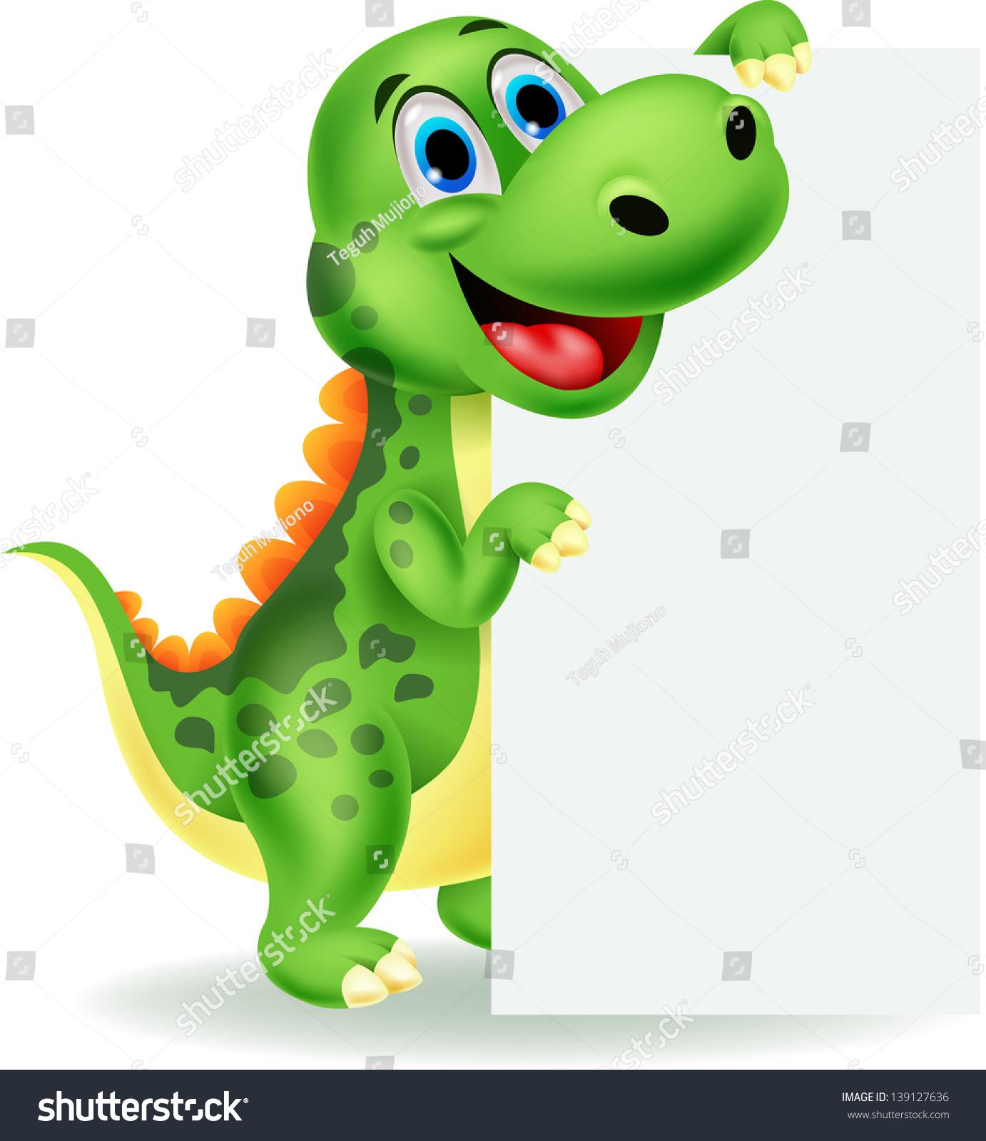 可爱的恐龙空白的迹象-动物/野生生物-海洛创意()-合