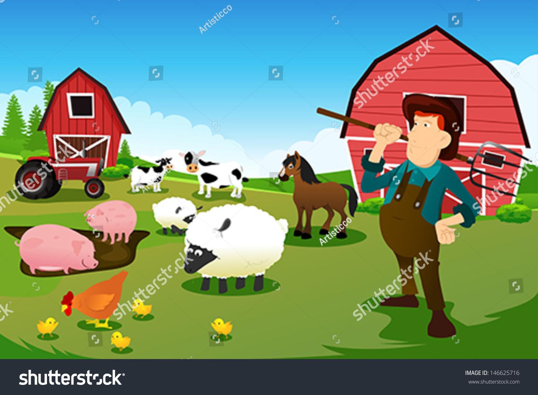 农民在农场与农场动物的矢量图-人物-海洛创意()