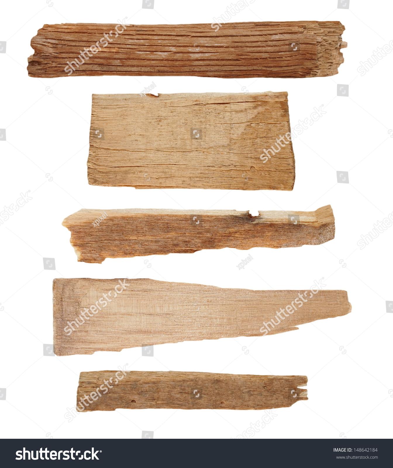 集合块破木板孤立在白色