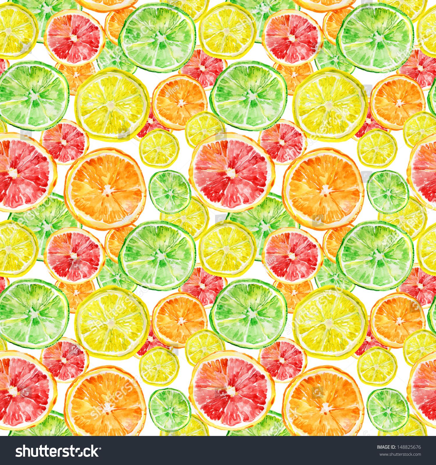抽象的三色的背景,柑橘类水果的柚子,橙子和柠檬片.