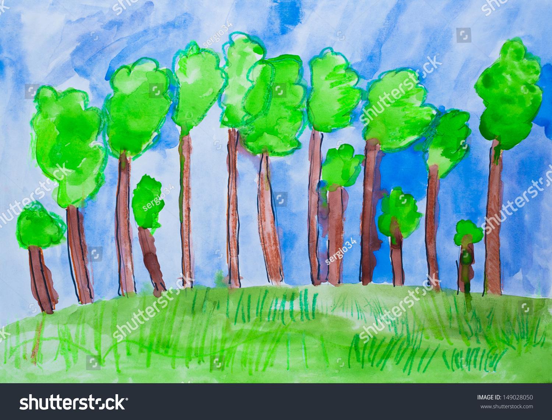 孩子们的画森林水彩-艺术,自然-海洛创意(hellorf)--.