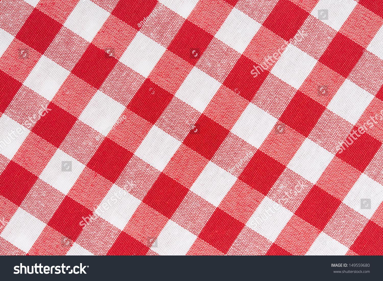 红色和白色的格子桌布对角纹理背景-背景/素材,物体