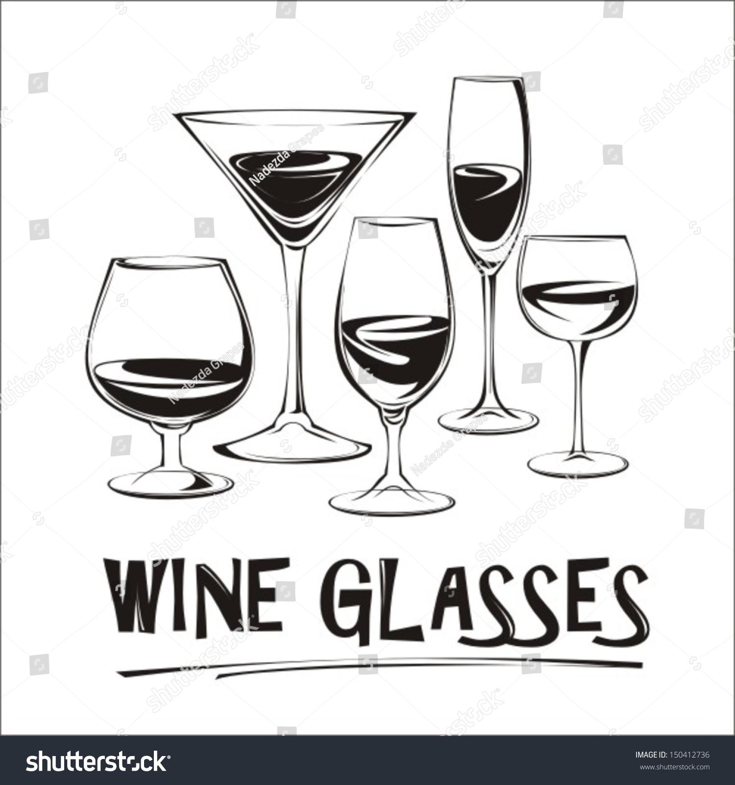 酒杯简笔画矢量图