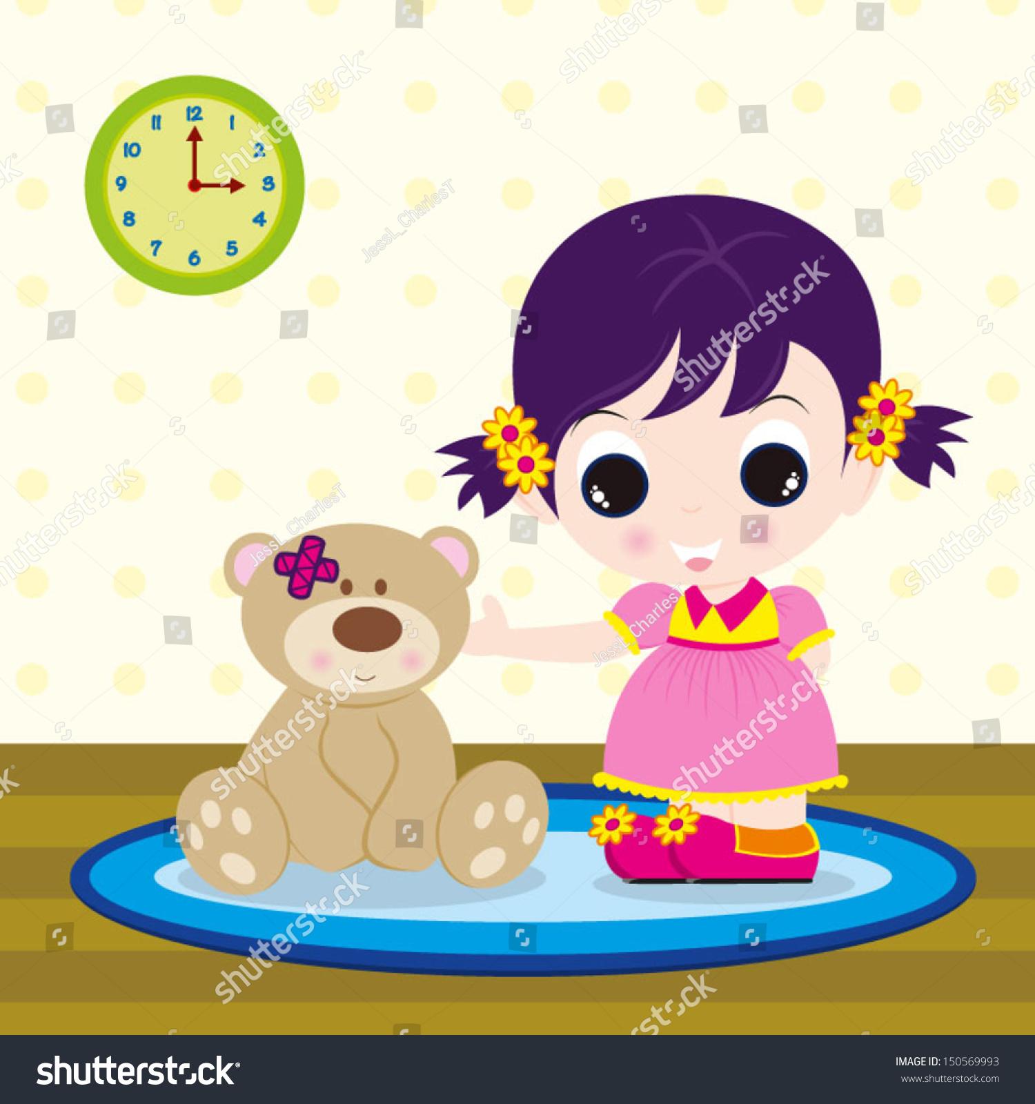 可爱的小娃娃的女孩:可爱的小女孩和一只泰迪熊在