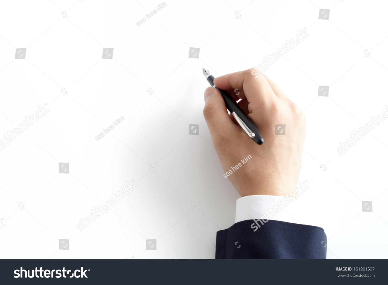 手里拿着钢笔孤立在白色背景