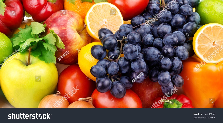 明亮的背景明亮的水果和蔬菜-背景/素材