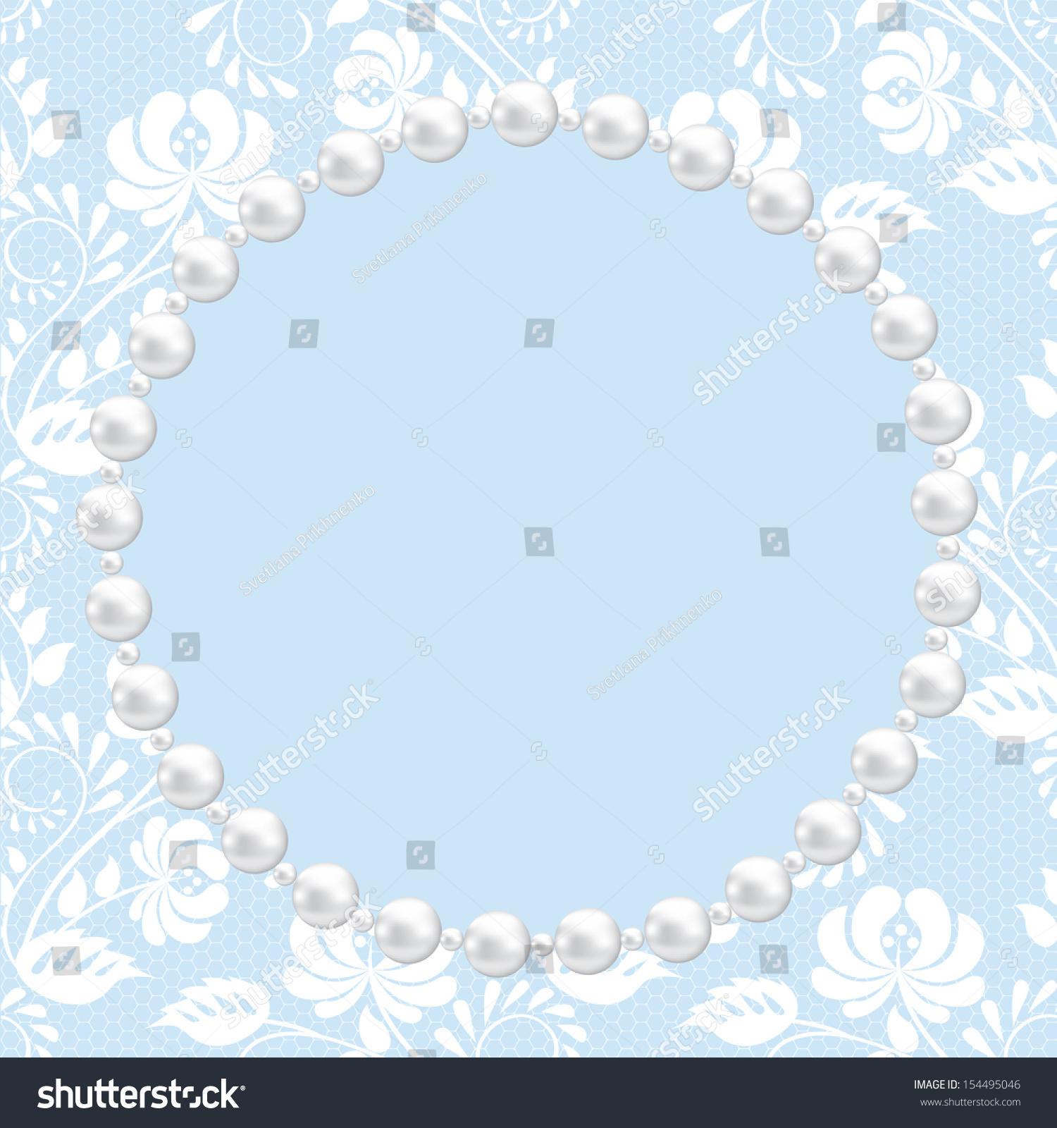 祝福或邀请卡用花边和珍珠框架-背景