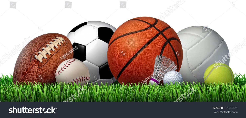 娱乐休闲运动器材在草地上有足球篮球棒球高尔夫足球网球排球和羽毛球