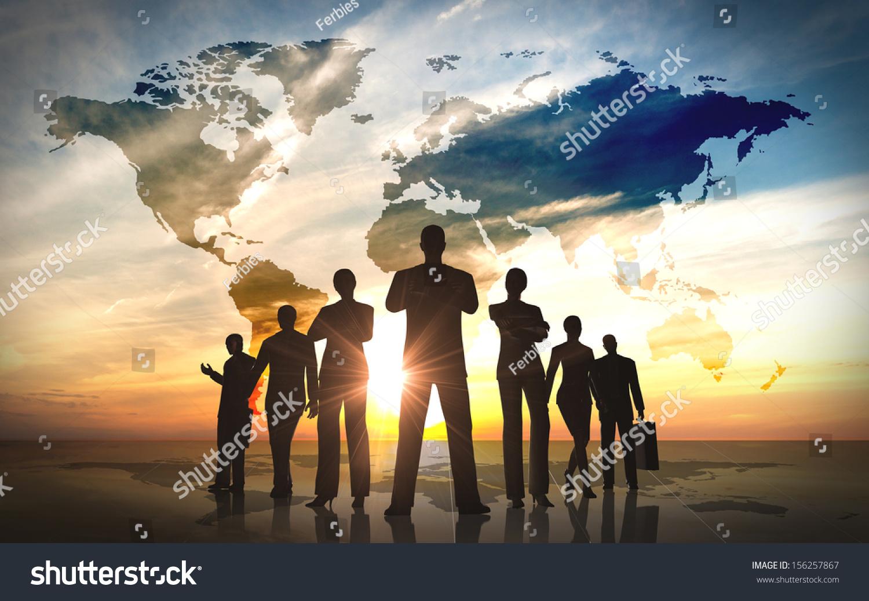 全球业务人员团队剪影-商业/金融,人物-海洛创意()-合